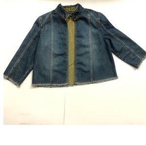 Ellen Tracy Denim Frayed Jacket